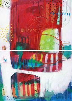 Resumen Original rojo azul pintura díptico amor por MirnaSisul