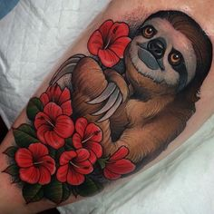 Great color-ink new school sloth with pink hibiscus flowers tattoo on shin