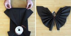 Vidéo : pliage de serviette chauve-souris pour Halloween - CôtéMaison.fr Origami Halloween, Diy Halloween, Table Halloween, Bricolage Halloween, Halloween Table Decorations, Vintage Halloween, Harry Potter Halloween, Napkin Folding, Montages
