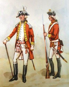 Infantry Regiment of the Rydzyńska Ordinance 1775. From left to right: officer,  private in winter uniform . Fig. B. Gembarzewski.