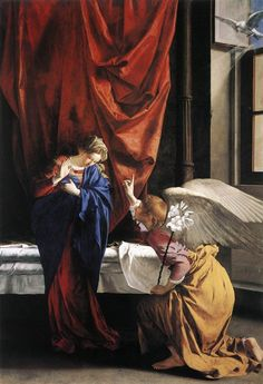 Artemisia Gentileschi The Annunciation 1593 Baroque Artemisia Gentileschi, Orazio Gentileschi, Baroque Painting, Baroque Art, Rome Painting, Italian Baroque, Italian Art, Blessed Mother Mary, Blessed Virgin Mary