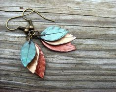 Leaf Earrings - Green, Bronze and Copper- Polymer Clay