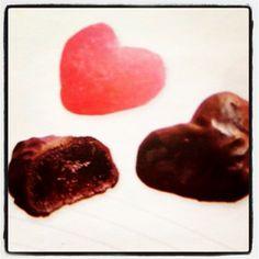 Jalea de fresa cubierta de chocolate