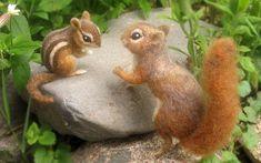 Needle felted chipmunk life sized woodland animal by Ainigmati