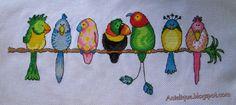 sweet parrots, cross stitch