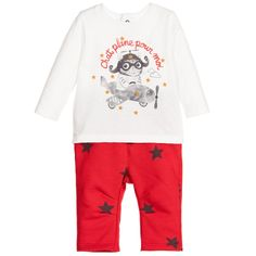 2c11e740c92b1 Baby Boys Ivory Top   Red Trousers 2 Piece Set