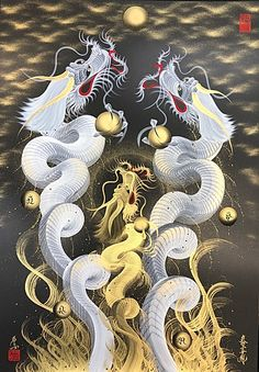 Dragon Tiger Tattoo, Chinese Dragon Art, Mystical Animals, Snake Art, Japanese Drawings, Dragon Artwork, Snake Design, Mini Tattoos, Feng Shui