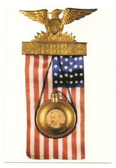 """Here's another flashy one. These are really gorgeous. (""""Vintage Benjamin Harrison Campaign Badge"""")"""