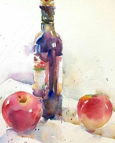 Watercolor Fruit, Fruit Painting, Watercolor Artwork, Watercolour Painting, Watercolor Beginner, Watercolor Architecture, Watercolor Projects, Art Sketchbook, Collage Art