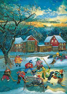 sur cette image, en avant plan, on voit un but de hockey dans la neige avec un enfant tombé dedans et il y a d'autres joueurs sur glace un peu au-dessus avec des bâtons dans les mains.Au milieu, il y a de la neige avec un arbre gris et 2 garcons, dont un par terre.en arrière, il y a beaucoup de neige et des maisons en dessous de montagnes enneigées. Ie ciel est jaune avec des nuages.J'ai choisi cette image car cela reflette le passé du Québec et j'aime bien le style enfantin de cette oeuvre.