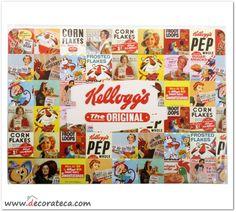 """Manteles individuales Kellogg's """"Collage"""". Decoración de cocinas retro vintage Kellogg's - WWW.DECORATECA.COM"""