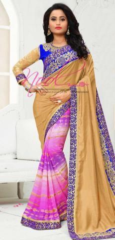 Shibori Printed Saris Online Chikoo Crepe Half and Half SF3366D20133