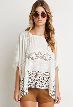 Crochet-Paneled Oversized Top