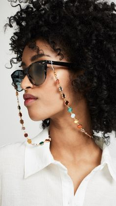 sunglasses chain The Sunglasses Chain Trend Is Poi - sunglasses Womens Fashion Online, Latest Fashion For Women, Instagram Feed, Cat Eye Sunglasses, Sunglasses Women, Vintage Sunglasses, Big Jewelry, Eyeglass Holder, Hair Barrettes