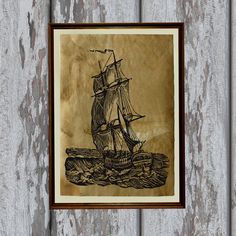 Antique ship print Antiqued decoration Old paper 8.3 x 11.7 inches