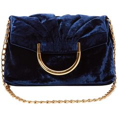 Pre-owned Stella Mc Cartney Velvet Handbag (€680) ❤ liked on Polyvore featuring bags, handbags, navy, purses, navy purse, blue purse, pre owned handbag, velvet handbags and navy handbags