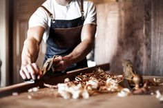 men - muscles - plane - wood - apron - denim - leather - rustic - sew - usa - madeinusa - handmade - handcrafted - woodworking - carpenter - barista - artist - industrial