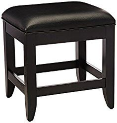 Home Styles 5531-28 Bedford Vanity Bench, Black Finish