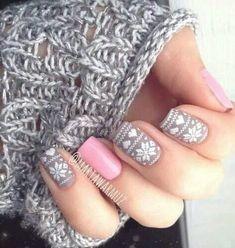 Pink And Gray Snowflake Nails Pictures, Photos, and Images for ...