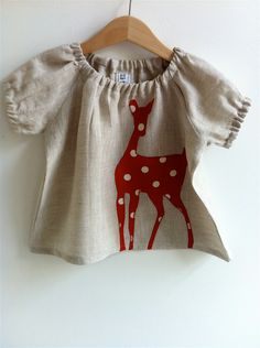 Doe  Baby Blouse Natural/Red -  6-12 mths, 1-2 yrs, 2-3yrs, 3-4yrs, 4-5yrs. $32.00, via Etsy.