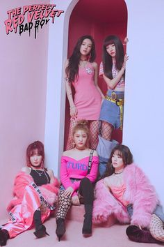 "Red Velvet is a South Korean girl group formed by SM Entertainment. The group debuted on August with the digital single ""Happiness"" and four group members: Irene, Seulgi, Wendy and Joy. In March Yeri was added into the group. Irene Red Velvet, Red Velvet アイリーン, Velvet Heart, Red Velvet Seulgi, Girls Generation, Kpop Girl Groups, Korean Girl Groups, Kpop Girls, Kpop Fashion"