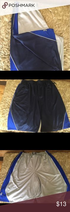 Men's Under Armour Loose Shorts Men's XL loose UA UNDER ARMOUR shorts brand new without tags . These have never been worn . 100% polyester steel/blue Under Armour Shorts Athletic