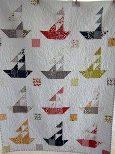 Dreamy Sailboat Quilt Boy's Quilt or Lap by DreamyVintageSheets