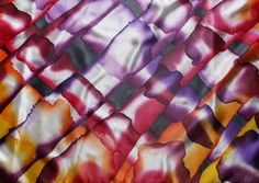 "Image of ""Violet checked"" hand-painted silk scarf by Asta Masiulyte"