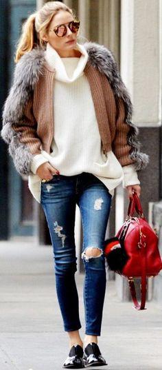 Who What Wear - A G Legging Jeans Salvatore Ferragamo Cardigan Vince Cashmere Turtleneck Sweater Celebrity Style Inspo