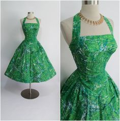 ALIX of MIAMI 1950's Vintage Green Cotton New by RubyFayesVintage