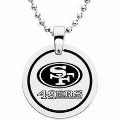 "San Francisco 49ers Official NFL Logo Round Pendant Necklace, Chain 27"" The Men's Jewelry Store. $39.88. 316L Stainless Steel is Hypoallergenic and Gentle on Sensitive Skin. San Francisco 49ers NFL Football Logo Etched in Black Enamel on Satin Brushed Stainless Steel. Bead Chain is 27 Inches in Length. Officially Licensed NFL Fine Jewelry. NFL Logo Football Pendant is 28.00 mm or 1.10 Inches in Diameter"