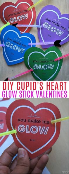 Cupids Heart Glow Stick Valentines - Super Cute DIY Valentines For Kids | Valentine's day craft ideas | free printable valentines for kids | no candy valentines ideas | DIY valentines no candy | valentine ideas without candy | valentines cards with glow sticks | honeyandlime.co