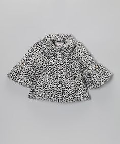 Take a look at this Black & White Cheetah Swing Coat - Girls by S Square on #zulily today!