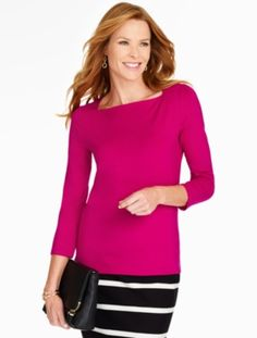 Talbots - Envelope-Shoulder Tee | | Misses Discover your new look at Talbots. Shop our Envelope-Shoulder Tee for stylish clothing and accessories with a modern twist at Talbots