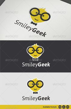 Smiley Geek Logo Template — Photoshop PSD #logo #social • Available here → https://graphicriver.net/item/smiley-geek-logo-template-/2872032?ref=pxcr
