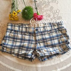 "CLEARANCE Hollister Plaid Shorts In great condition but do have a small wear spot on the but where threads have worn down. Inseam is 2.5"" Hollister Shorts"