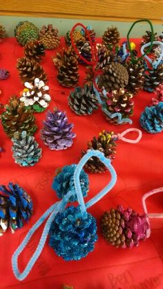 Painted pinecones. Some were very clever and included the golden snitch, pineapples, trees and more. Others were abstract or decorative