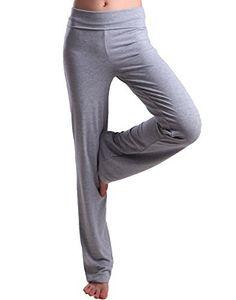 HDE Women's Fold Over Waist Yoga Lounge Pants Flare Leg Workout Leggings (Heather Gray, Small) - http://www.exercisejoy.com/hde-womens-fold-over-waist-yoga-lounge-pants-flare-leg-workout-leggings-heather-gray-small/yoga/