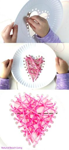 Yarn Paper Plate Heart Craft and Beginner Sewing for Preschool and Kindergarten, paper plate yarn hearts, paper plate sewing, Easy Beginner Sewing for Kids, Threaded Heart Paper Plate Craft for Valentines Day, paper plate heart craft, paper plate weaving lesson, Weaving for Preschool and Kindergarten, Heart Crafts for Kids, Montessori Activities, Waldorf Homeschool, #Valentinesday #Valentinecraft #preschoolcrafts #Montessori #waldorf