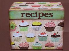 cute with cupcakes..Made with scrapbook paper then decoupaged. Easy to make.