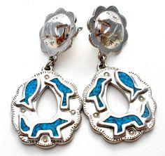 Trifari Mosaic Turquoise Silver Earrings Vintage