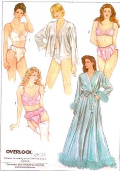 Simplicity 8957 80s Romantic Lingerie Bra Bustier Garter belt panties Robe Vintage sewing pattern Honeymoon Bridal brides wear Sz 12 UNCUT.  This 80s