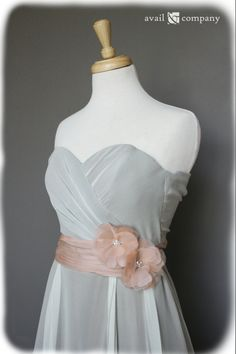 Strapless Vintage Style Silk Chiffon Dress with Fabric by AvailCo, $500.00