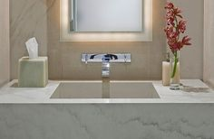 love this for a powder room . contemporary powder room by Garret Cord Werner Lighted Bathroom Mirror, Bathroom Faucets, Bathroom Fixtures, Stylish Bathroom, Powder Room Design, Bathroom Taps, Modern Bathroom, Bathroom Decor, Powder Room Vanity