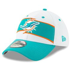 c326c478729a2 Men s Miami Dolphins New Era White Aqua Thanksgiving 39THIRTY Flex Hat