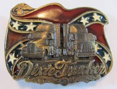 Vintage 1987 Dixie Trucker Belt Buckle by The Great American Buckle Co USA Brass #TheGreatAmericanBuckleCo #CasualEveryday