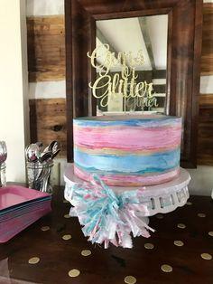 Guns or Glitter Gender Reveal Cake Cake Topper (Etsy) Cake (Ivey Cake)