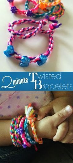 2 minute twisted bracelets. Use yarn or string to make these simple friendship bracelets.
