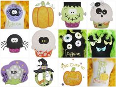 Halloween Applique Choices - this is just a small selection of my many Halloween appliques!  Each of these is an unique design that can go on the project of your choice.  Contact me for your custom order!  Itty Bitty Boutique:   https://www.facebook.com/pages/Itty-Bitty-Boutique/154670427890966.