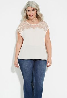 Plus Size Eyelash Lace Paneled Top